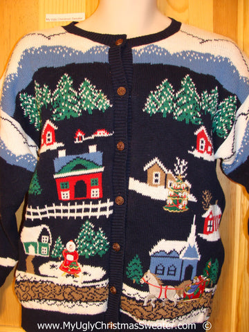 Amazing 2sided Snowy Town Festive Christmas Sweater
