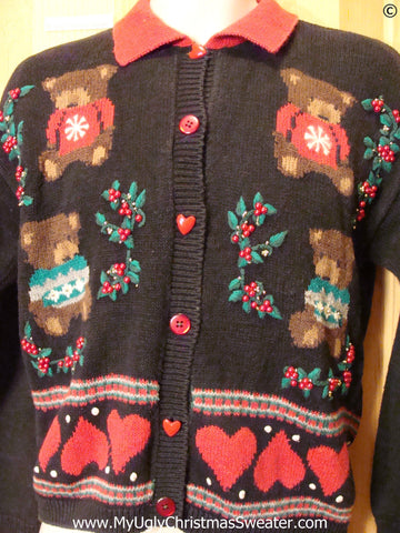 80s Hearts and Bears Festive Christmas Sweater