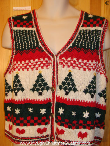 Two Sided Festive Christmas Sweater Vest Trees and Hearts