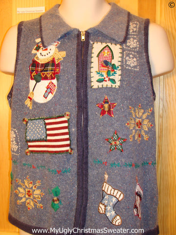 Patriotic Festive Christmas Sweater Vest with Flag
