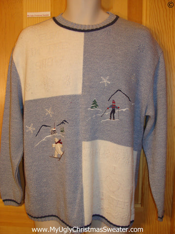 Cheap Blue and Ivory Ski Theme Festive Christmas Sweater