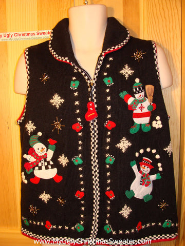 Tacky Ugly Christmas Sweater Vest with a Trio of High-Maintanance Snowmen in their Festive Finery (f158)