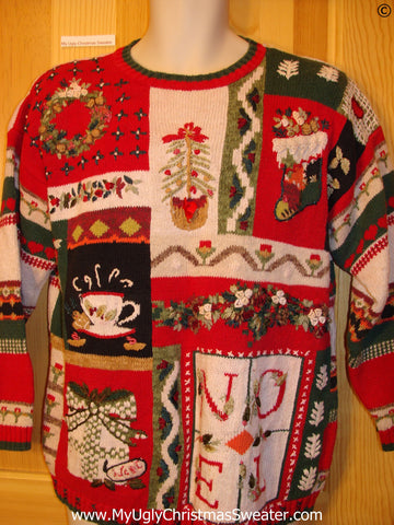 80s 2sided Red, Green, Ivory, Festive Christmas Sweater