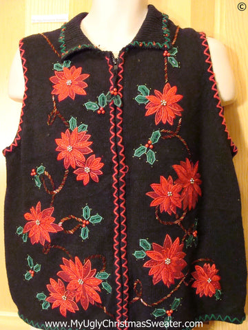 Poinsettia Themed Festive Christmas Sweater Vest