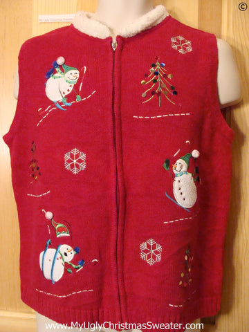 Skiing Snowmen Red Festive Christmas Sweater Vest