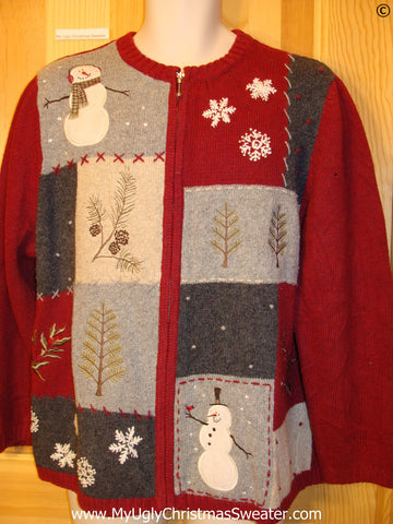 Grids of Snowmen and Trees Festive Christmas Sweater