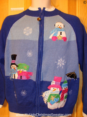 Blue Festive Christmas Sweater with Pastel Snowmen