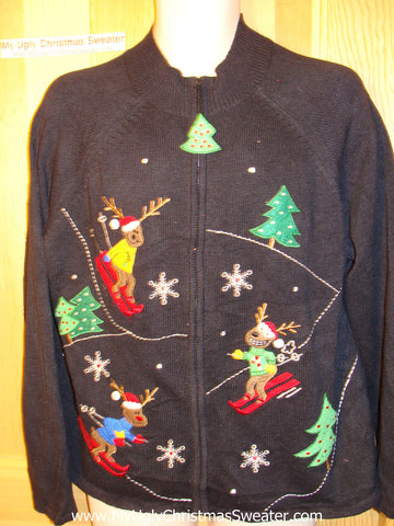 Tacky Ugly Christmas Sweater  with Skiing Reindeer in a Winter Wonderland (f159)