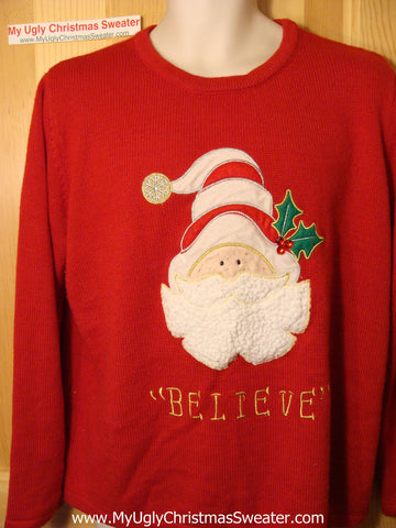 "Tacky Ugly Christmas Sweater Santa ""BELIEVE"" (f15)"