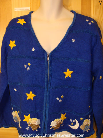 Blue 2sided Cheap Christmas Sweater with Angels