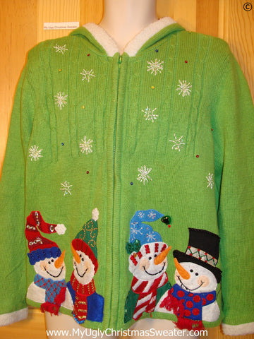 Lime Green Hoodie Cheap Christmas Sweater with Snowmen