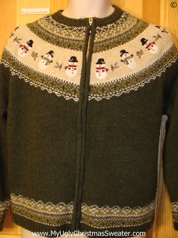 Nordic Green Cheap Christmas Sweater with Snowmen