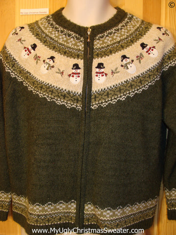 Snowman Nordic Zip Cheap Christmas Sweater