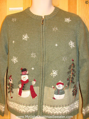 Snowman and Birdhouse Green Cheap Christmas Sweater