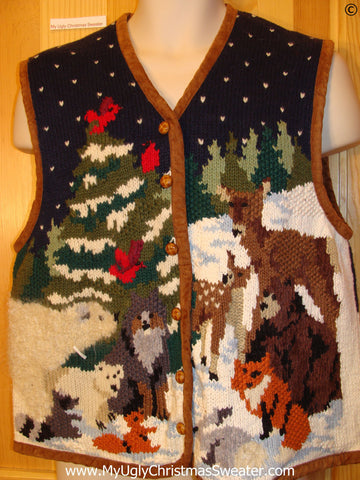 Zoo Animals 2sided Best Christmas Sweater Vest
