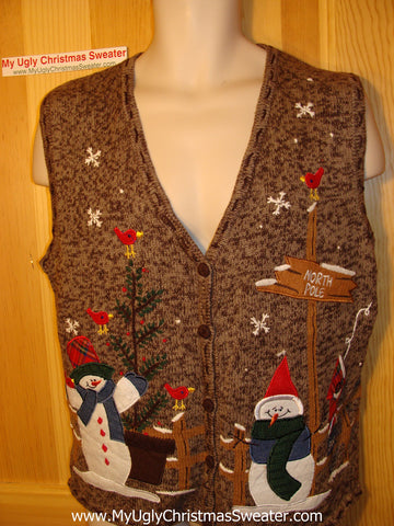 Tacky Ugly Christmas Sweater Brown Vest with a Couple of Cold Snowmen at the North Pole  (f160)