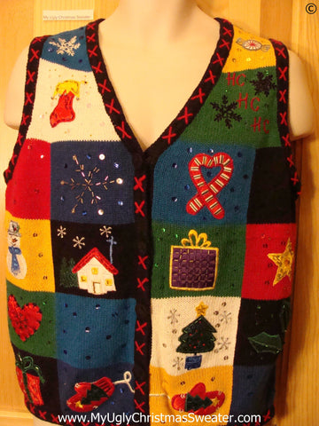 Colorful Patchwork Cheap Christmas Sweater Vest