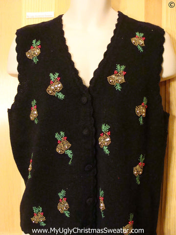 Bling Bells Cheap Christmas Sweater Black Vest