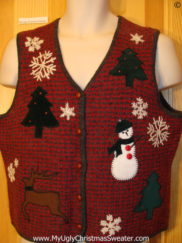 Two Sided Red Woven Cheap Christmas Sweater Vest