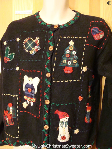 80s Cheap Christmas Sweater Patchwork and Padded Shoulders