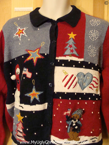 Patriotic Red, White, and Blue Cheap Christmas Sweater