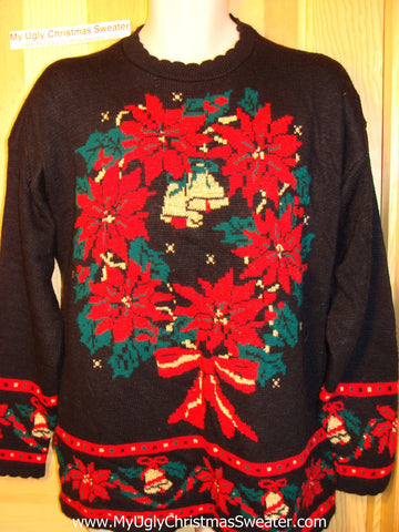 Tacky Ugly Christmas Sweater 'Holy Grail of Ugly' 80s Masterpiece with Huge Wreath of Red Poinsettias (f161)