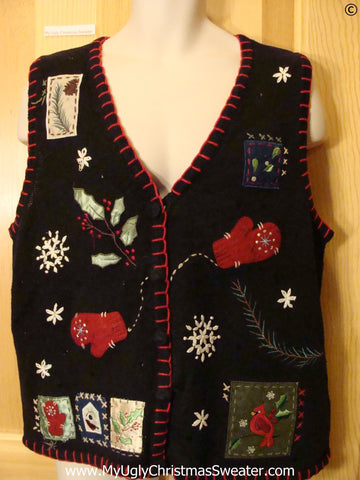 Black Cheap Christmas Sweater Vest with Red Cardinal