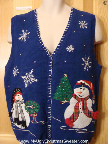 Blue Huge Festive Snowman Best Christmas Sweater
