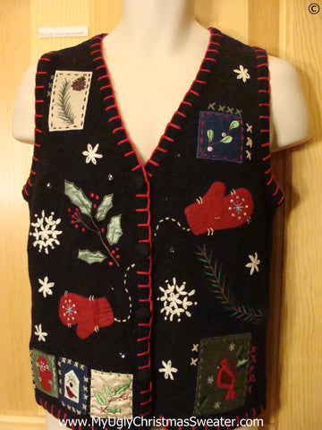 Black Cheap Christmas Sweater Vest with Mittens