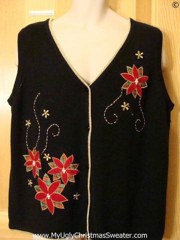 Black Cheap Christmas Sweater Vest with Plaid Poinsettias