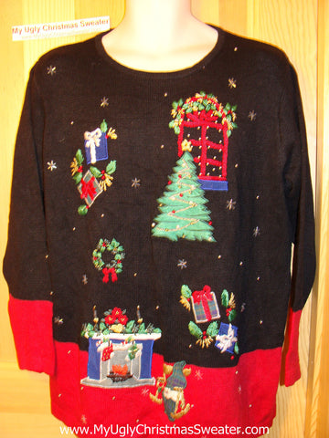 Tacky Ugly Christmas Sweater Nightmare of Decorations (f162)