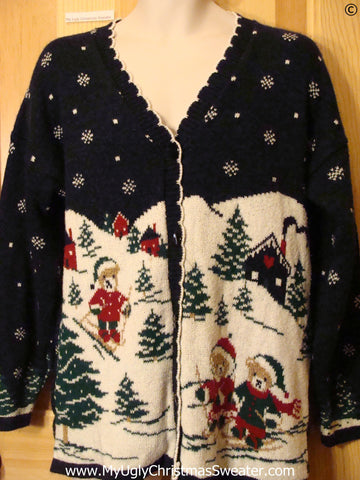 80s Skiing Bears 2sided Best Christmas Sweater Cardigan