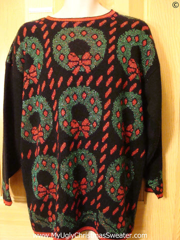 80s Best Christmas Sweater with Grid of Wreaths