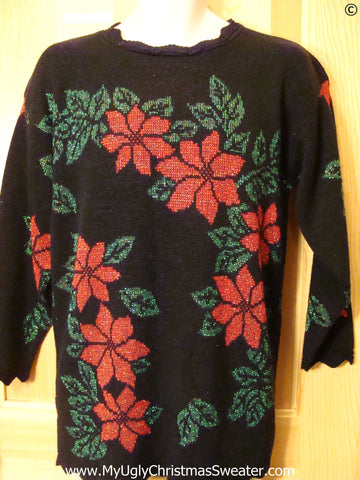 80s Huge Red Poinsettias Best Christmas Sweater