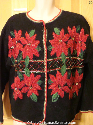 Best Christmas Sweater with Huge Poinsettias 80s Cardigan