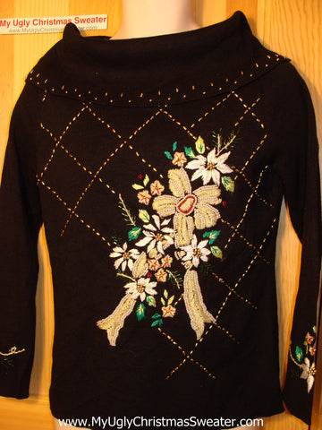 Tacky Ugly Christmas Sweater Massive Bling Gold Poinsettias (f163)