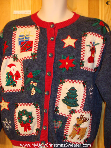 Blue and Red Patchwork 80s Cardigan Cheap Christmas Sweater