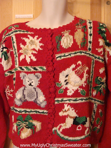 80s Red Padded Shoulders Cheap Christmas Sweater