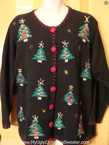 Tree Themed Black Cheap Christmas Sweater