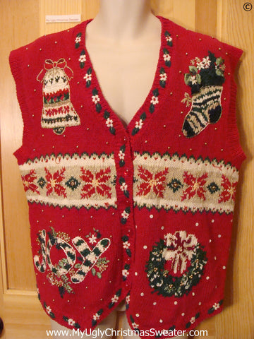 Crazy Red Button Cheap Christmas Sweater Vest