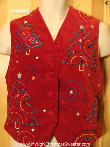 Cheap Red Fabric Christmas Vest