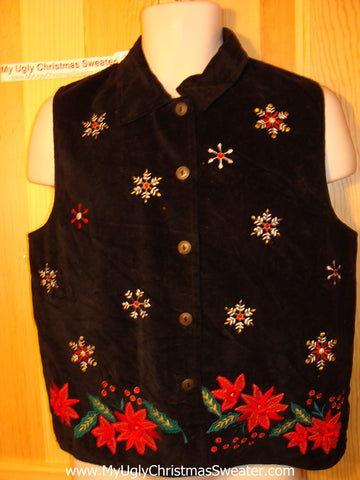Tacky Ugly Christmas Sweater Party Vest with Poinsettias (f164)