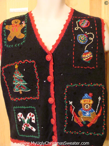Black Cheap Christmas Sweater Vest with Red Trim