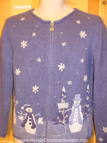 Two Sided Zip Blue Snowman Cheap Christmas Sweater