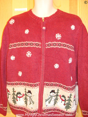 Red 2sided Snowman Theme Cheap Christmas Sweater