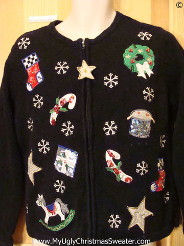 Dangling Zipper Pull Black Cheap Christmas Sweater