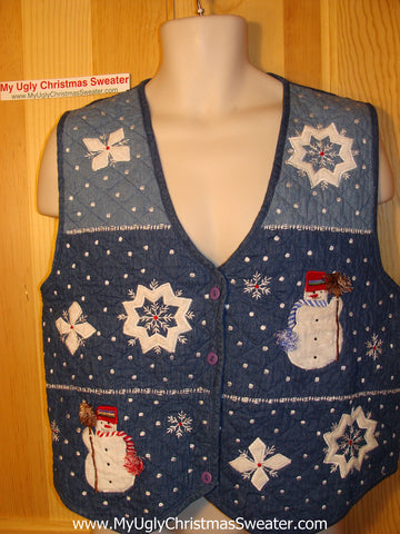 Tacky Ugly Christmas Sweater Vest Crafty Quilted Snowmen and Snowflakes (f165)