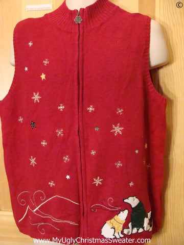Red Bear Themed Zip Vest Cheap Christmas Sweater