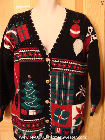 80s Cardigan Plaid Red Green Best Christmas Sweater
