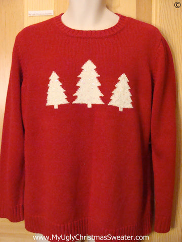 Cheap Red Cheap Christmas Sweater with Trees